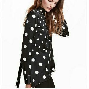 H&M silky polka neck tie blouse